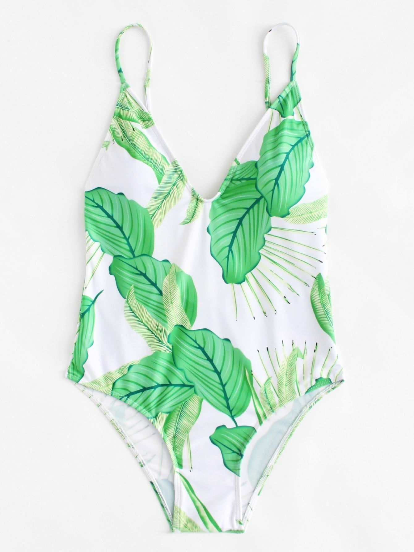 Leaf Print Caged Swimsuit caged back swimsuit