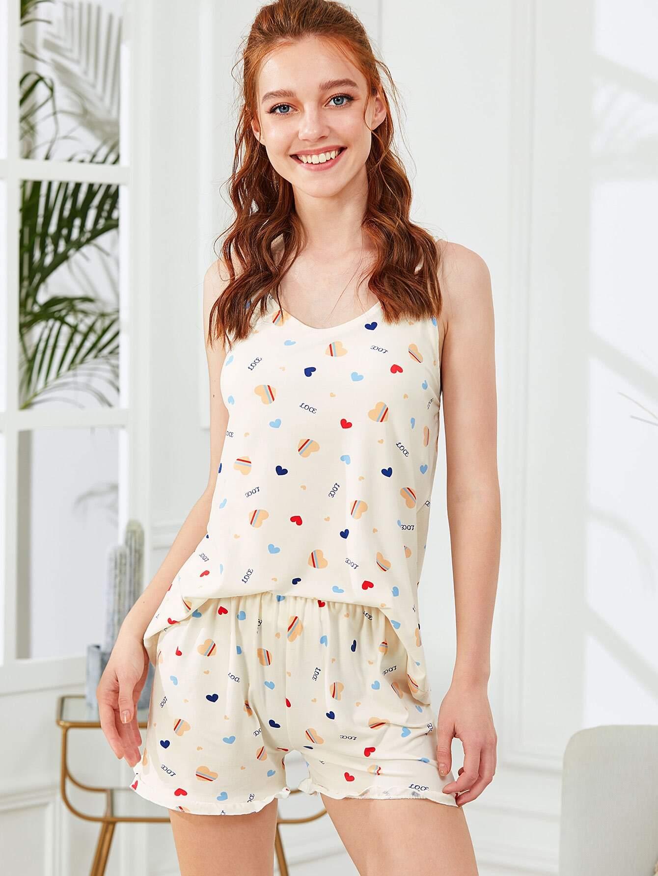 Heart Print Cami Top & Shorts PJ Set
