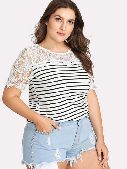 Lace Applique Striped Tee