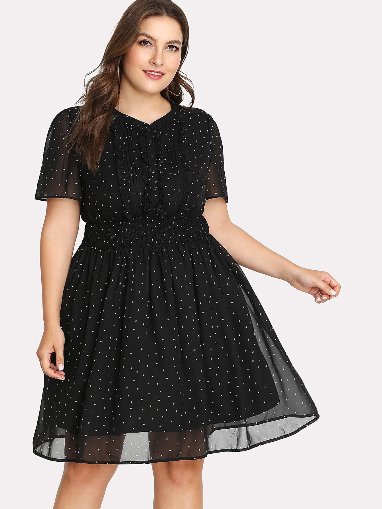 Frill Detail Fit & Flare Polka Dot Dress dot mesh overlay frill detail fluted cuff top