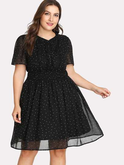 Frill Detail Fit & Flare Polka Dot Dress