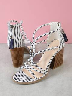Strappy Caged Chunky Heel with Tassel Zipper Detail WHITE NAVY