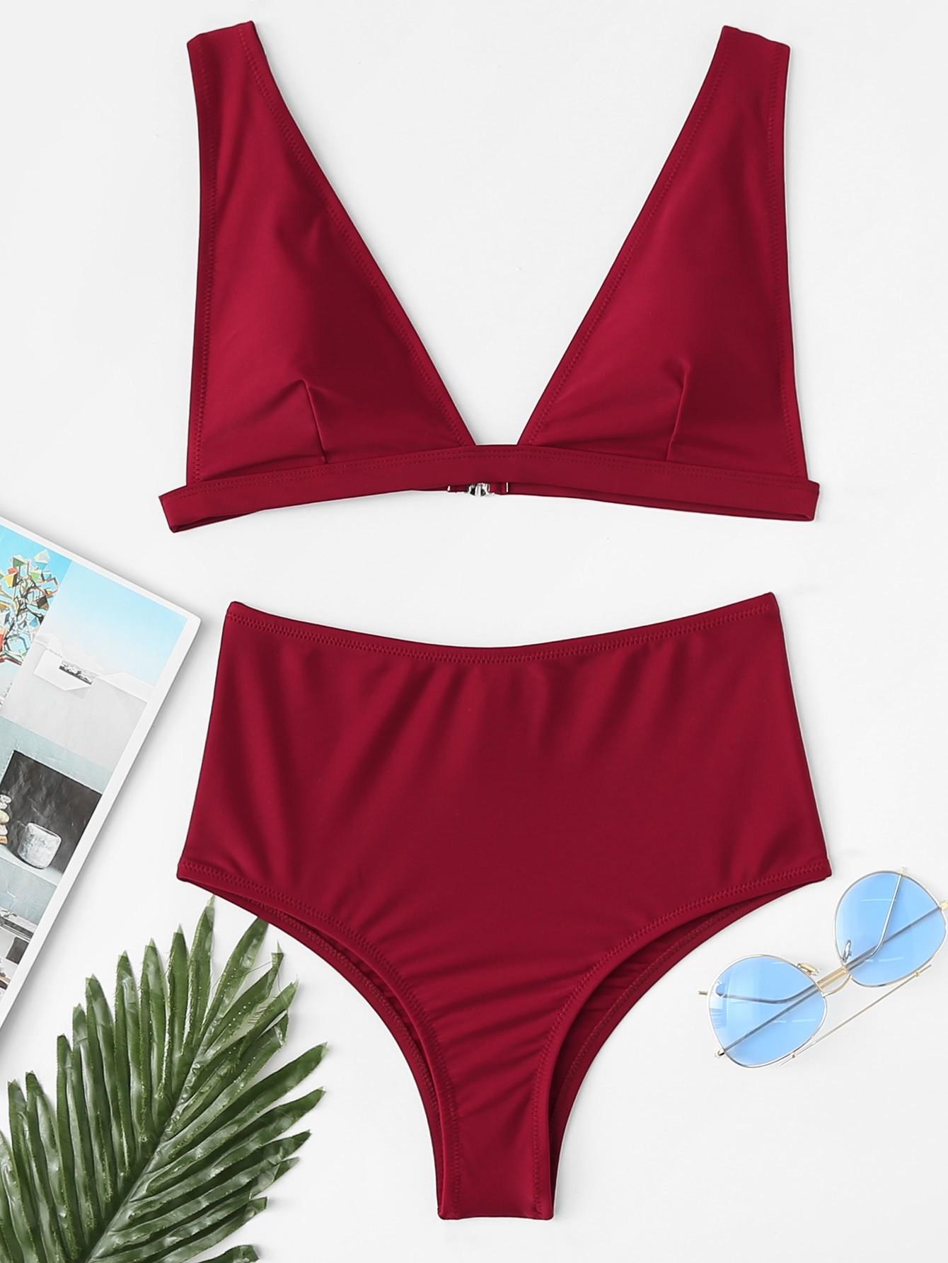 Фото Adjustable Straps High Waist Bikini Set checker knot bikini set