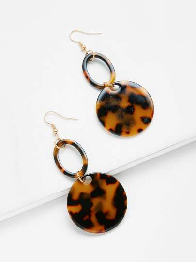 Double Round Design Drop Earrings