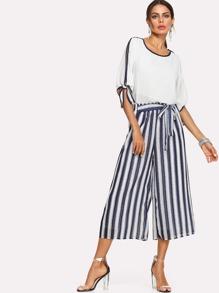 Tie Detail Top & Stripe Wide Leg Pants
