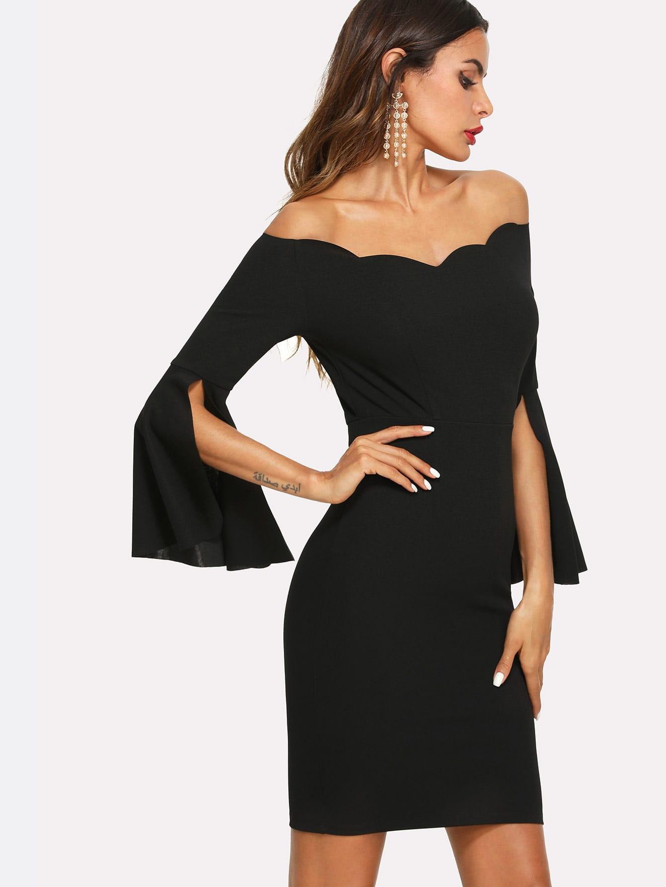 Купить Стильное платье с открытыми плечами и широкими рукавами, Andy, SheIn