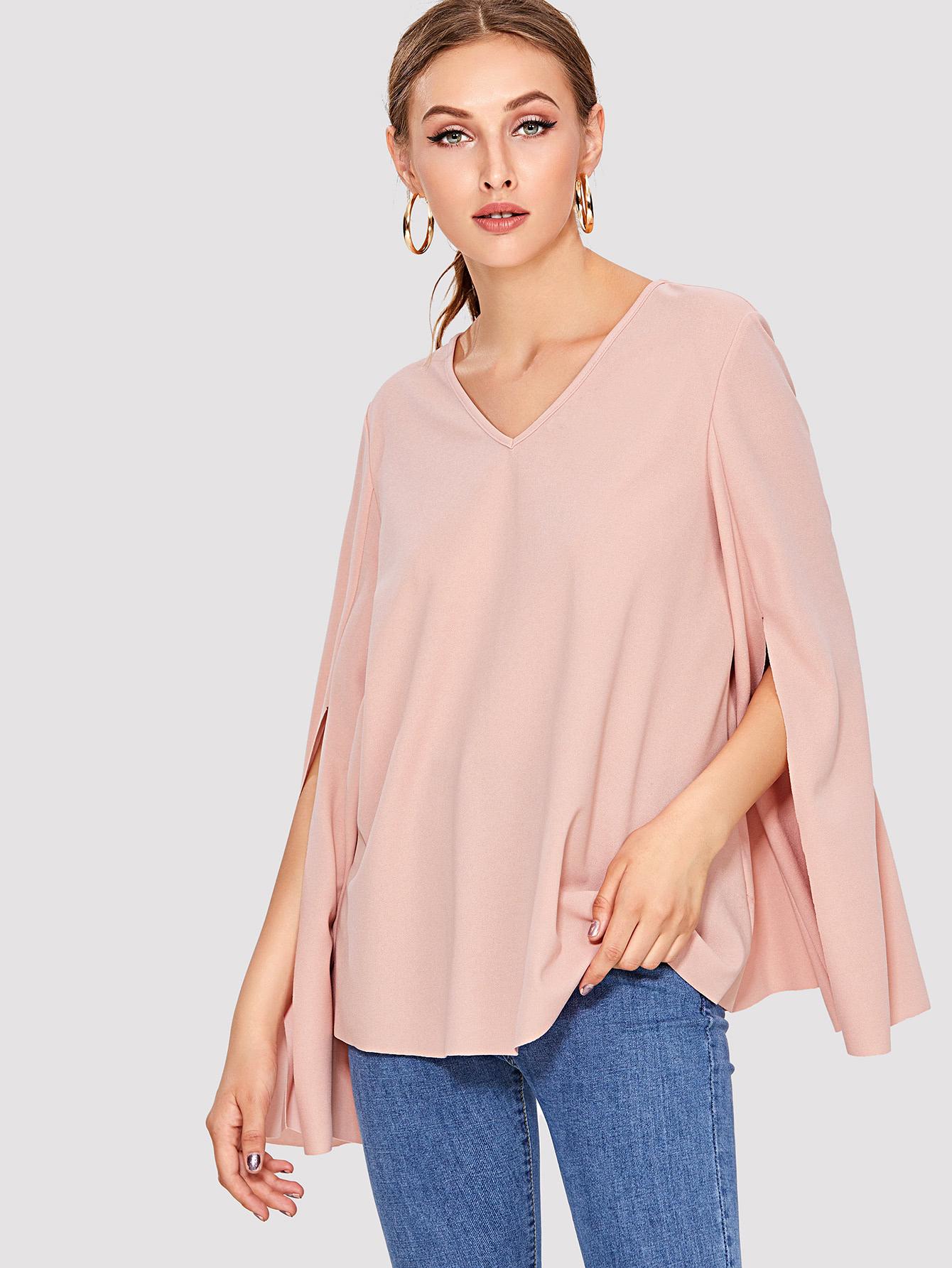 V Neck Slit Bell Sleeve Blouse v neck slit sleeve high low blouse