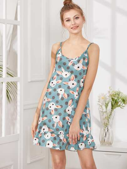 Rabbit Print Ruffle Hem Cami Dress