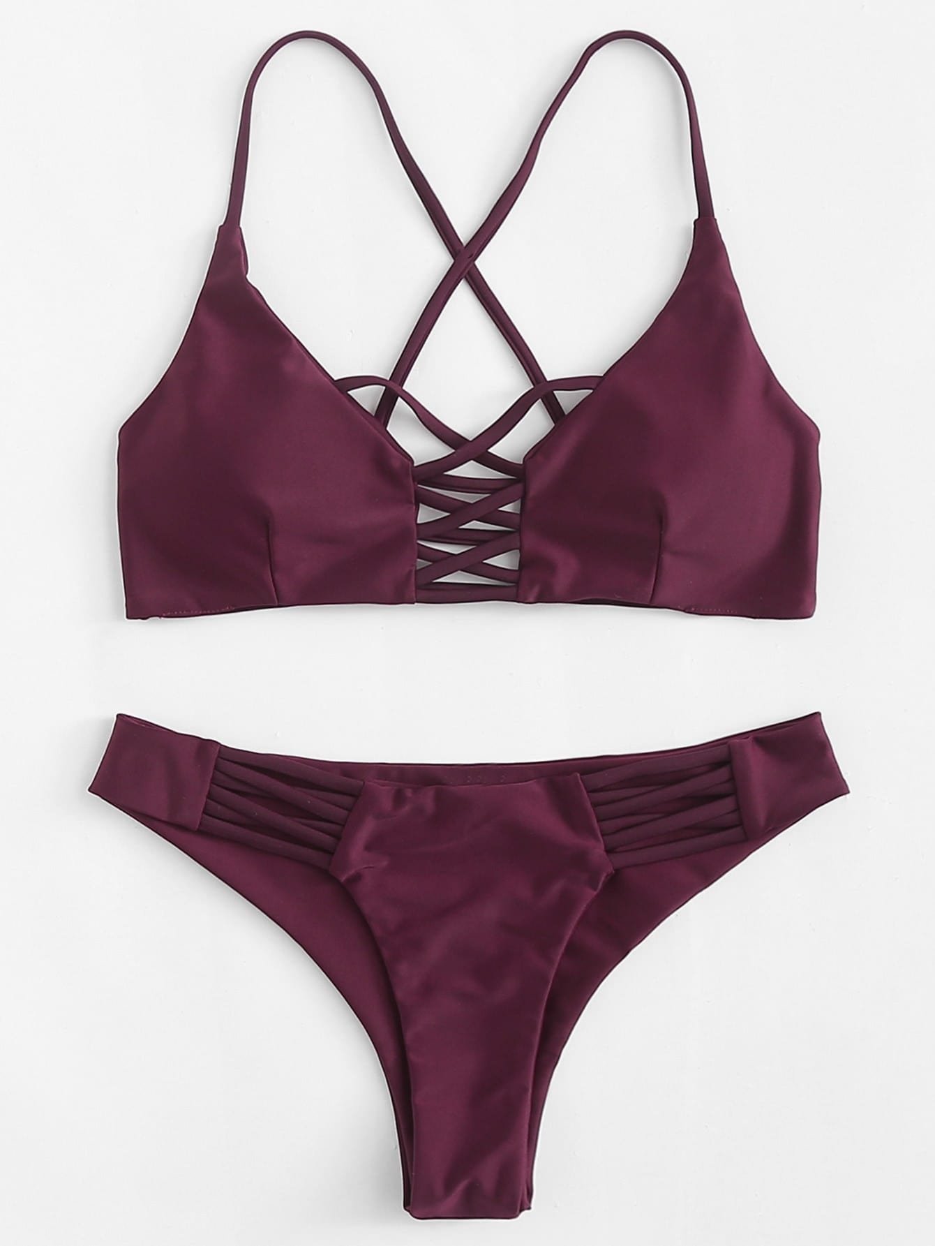 Criss Cross Bikini Set criss cross ruffle bikini set