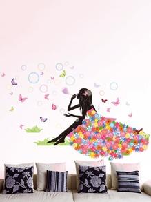 Girl & Bubble Wall Sticker