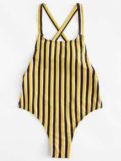 Open Back Striped Swimsuit