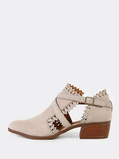Faux Suede Perforated Booties with X Band and Zig Zag Cut Out Detail TAUPE