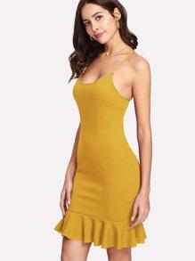 Ruffle Hem Form Fitted Cami Dress