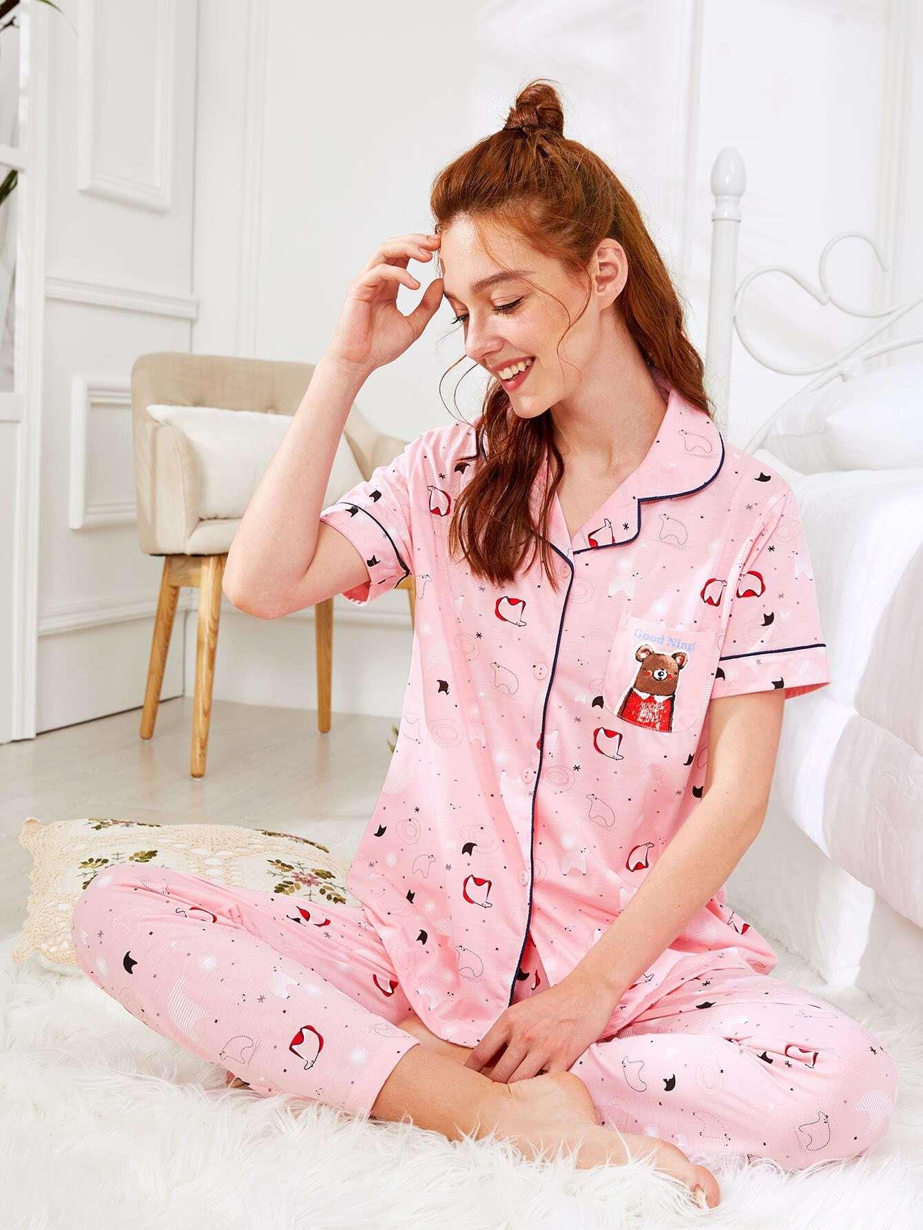 Купить Комплект пижамы рубашка с принтом медведь и брюки, Poly, SheIn