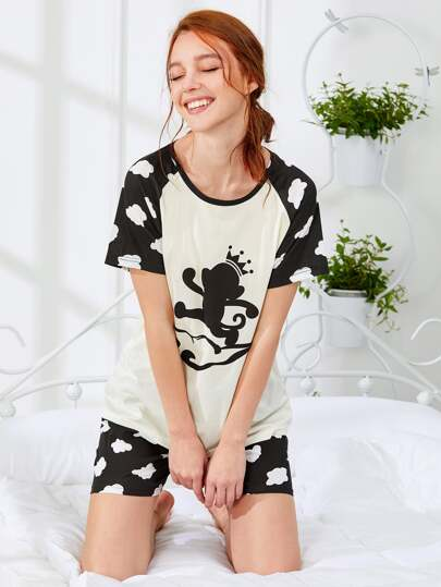 Cartoon Print Tee & Shorts PJ Set