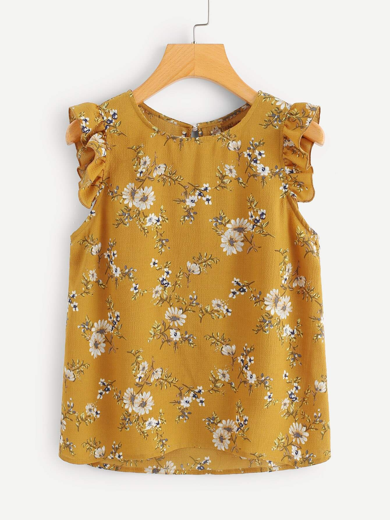 Frilled Armhole Button Closure Back Shell Top button closure back flower print top