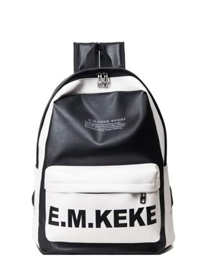 Two Tone Letter Print Backpacks Bag