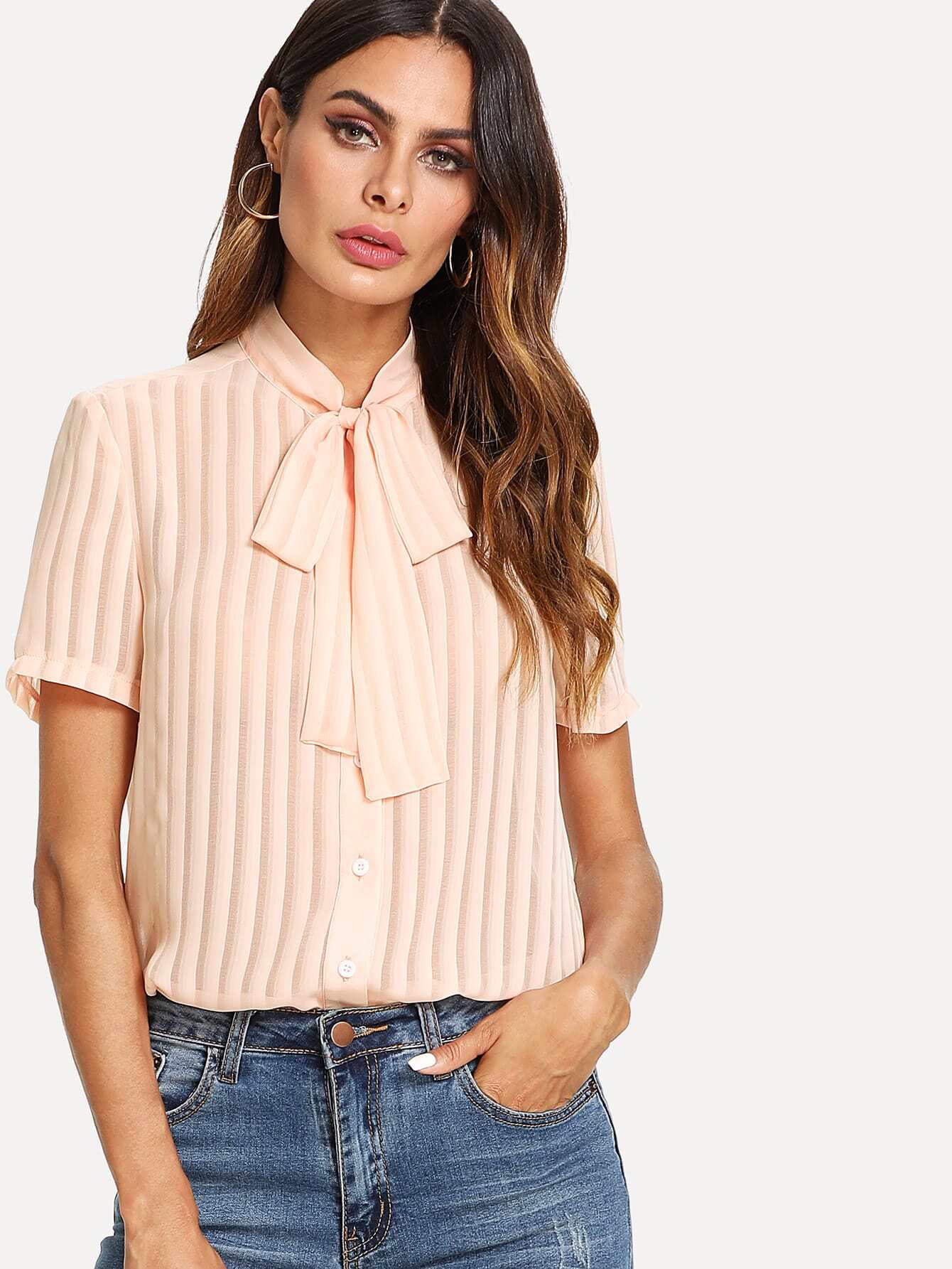 Tie Neck Button Up Pleated Blouse pleated button collar blouse