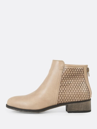 Perforated Shaft Zip Up Bootie STONE