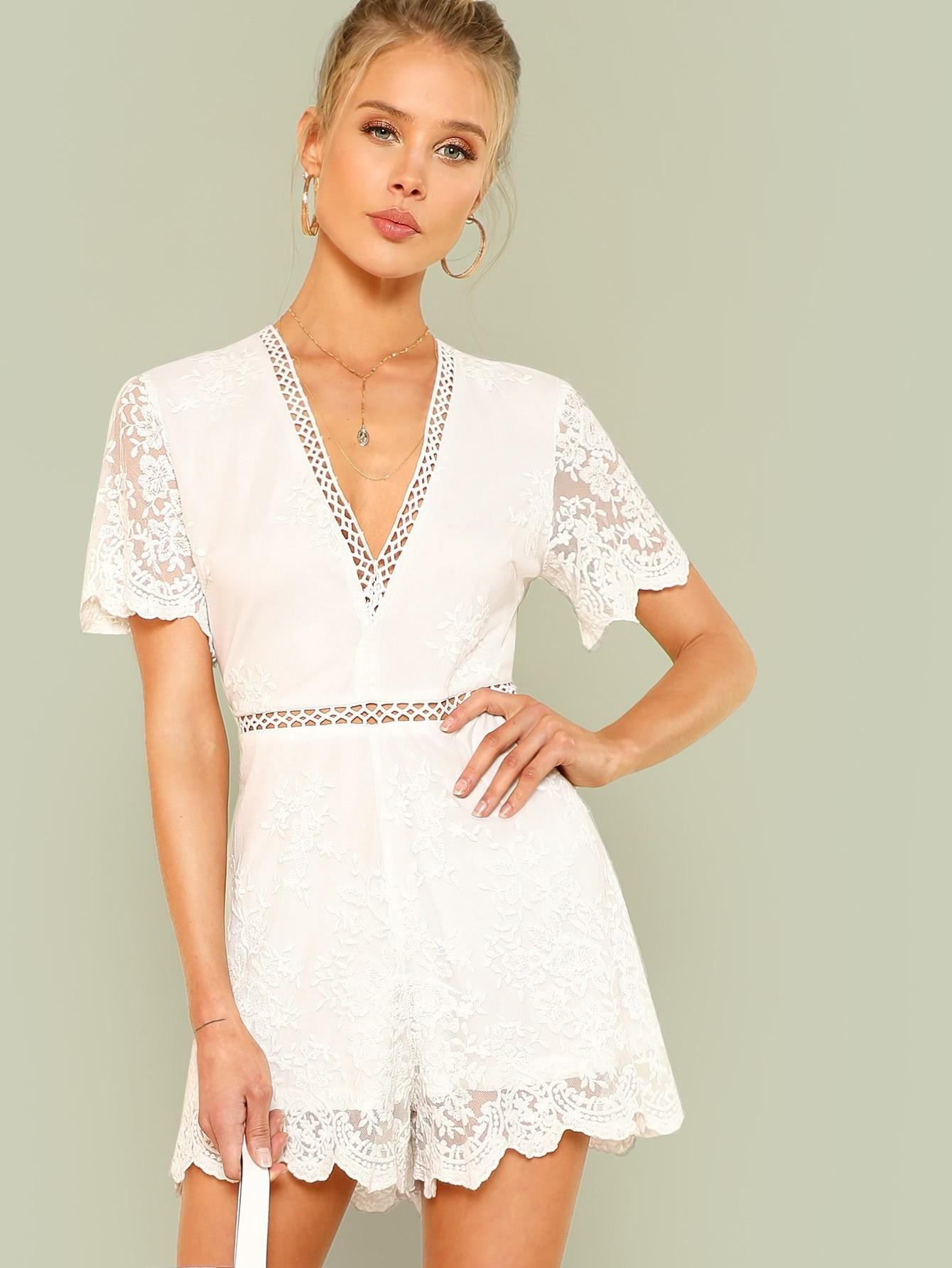 Lace Insert Embroidered Mesh Overlay Romper white sleeveless mesh and lace overlay details playsuit