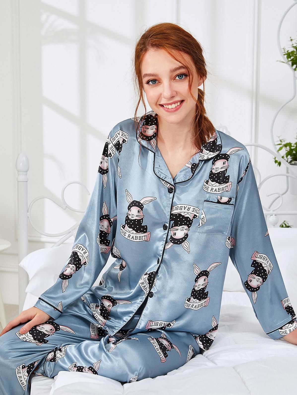 Contrast Binding Rabbit Print Shirt & Pants PJ Set exmork 100 вт 12 в poly si