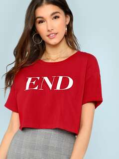Letter Print Crop Tee RED