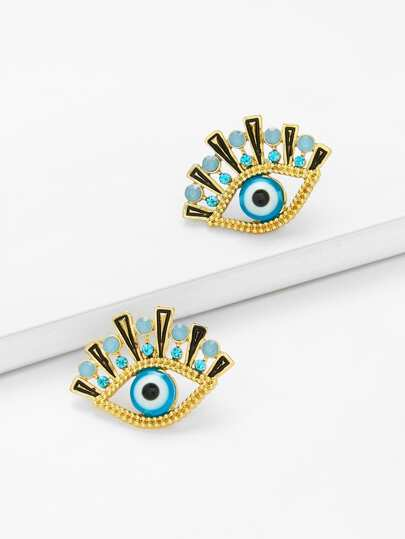 Eye Design Stud Earrings With Rhinestone