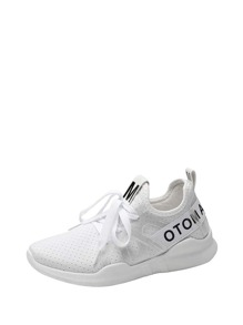 Letter Print Lace Up Low Top Sneakers