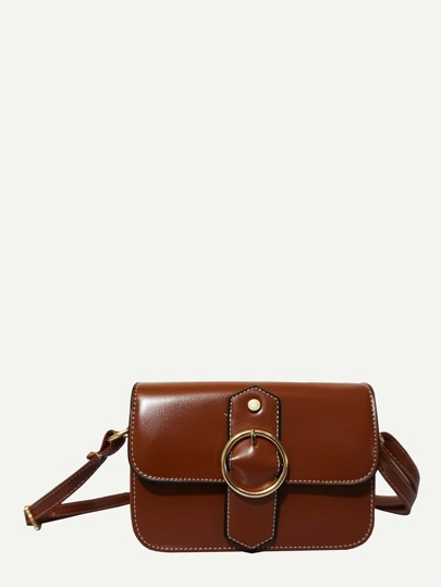 Ring Buckle Decor Flap PU Shoulder Bag