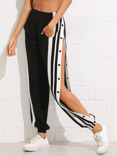 Snap Button Striped Side Pants
