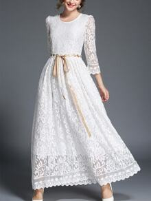 Tie Waist Longline Lace Dress