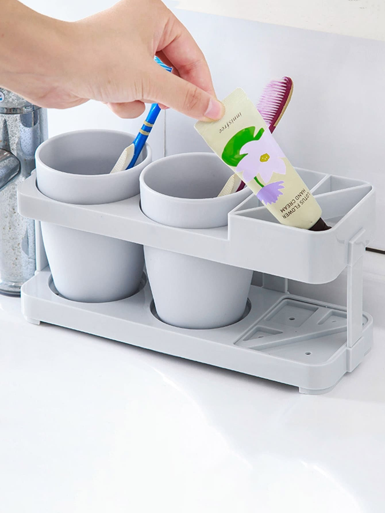 Toothbrush Holder & 2pcs Cup 2017 latest model rubber spray technology black single tumbler cup holder toothbrush holder bathroom accessory