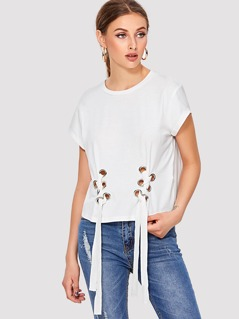 Grommet Lace Up T-shirt