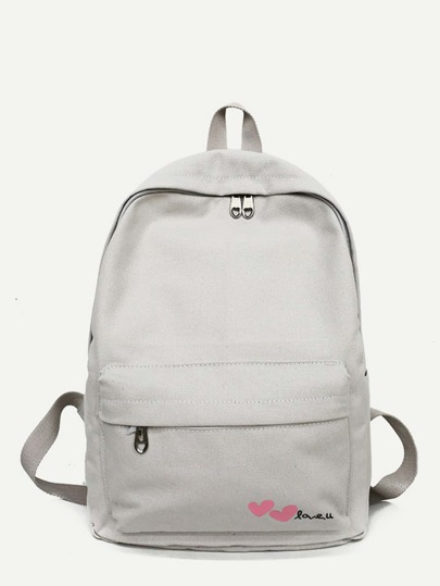 Love Print Canvas Backpack