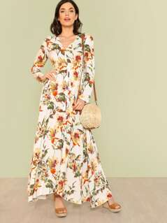 Floral Print Button Up Tie Waist Long Sleeve Maxi Dress OFF WHITE