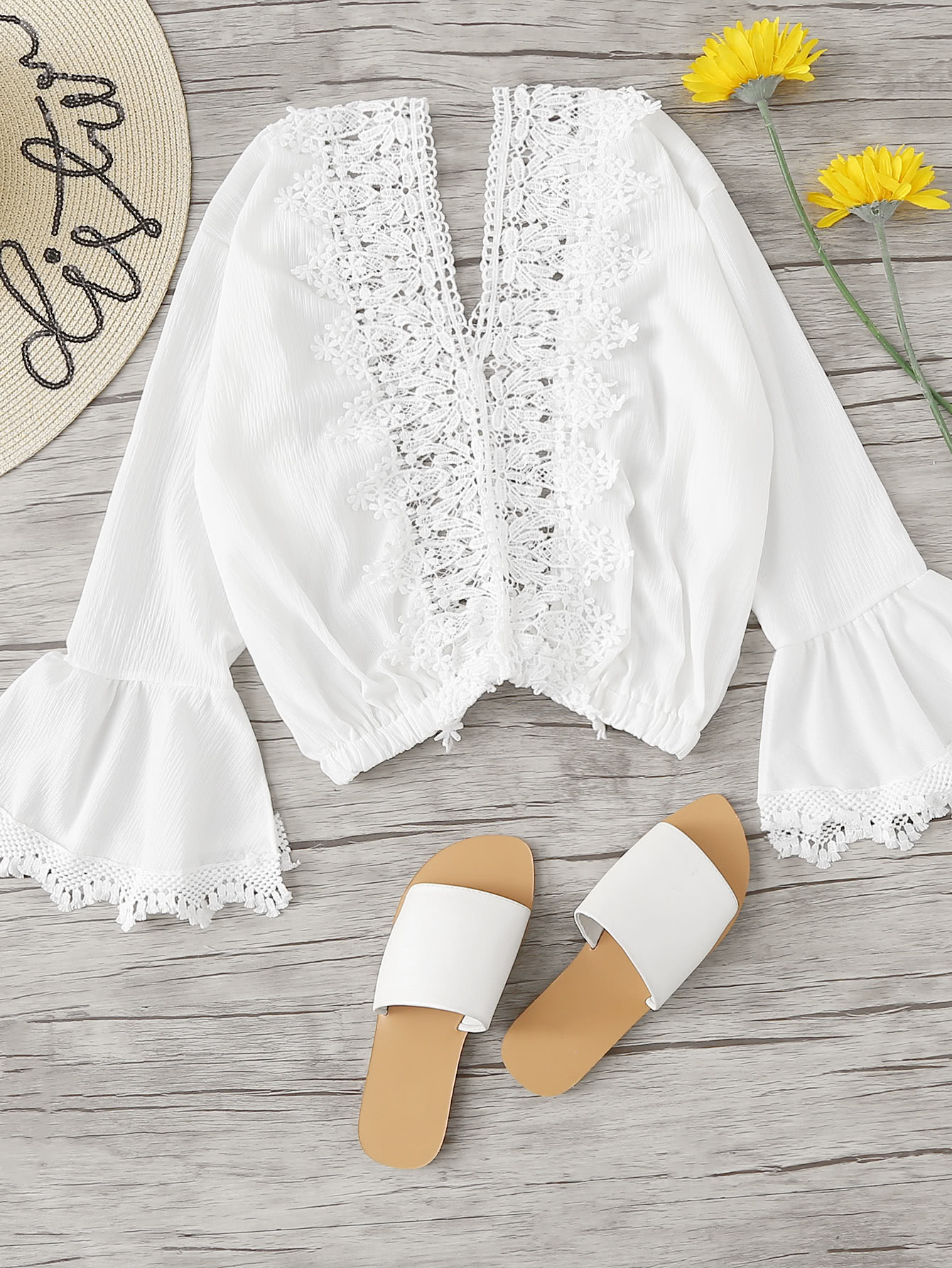 Lace Panel Fluted Sleeve Top