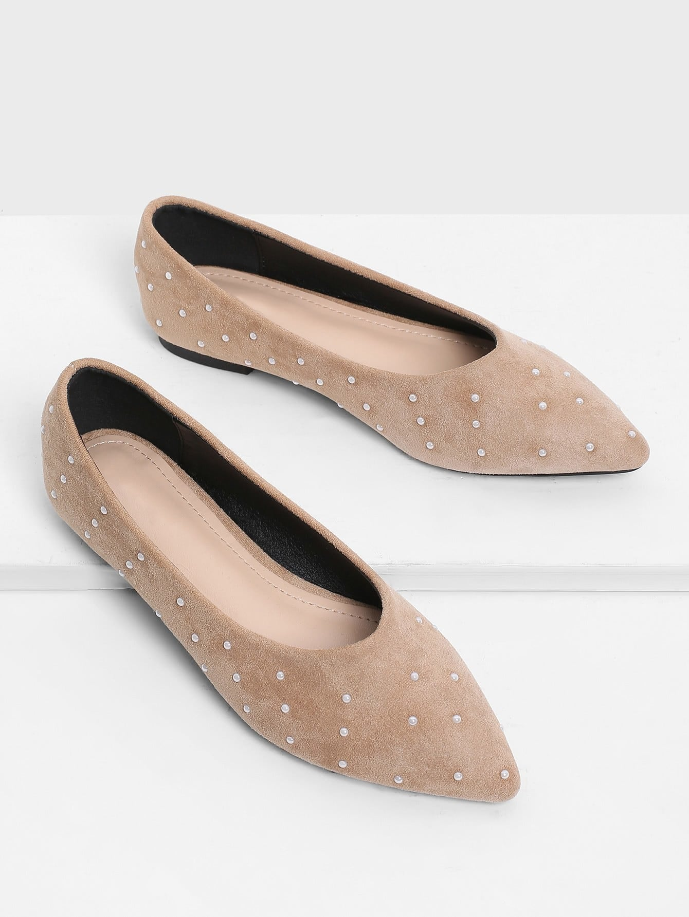Faux Pearl Decorated Pointed Toe Flats полотенцесушитель energy u g3 770x635