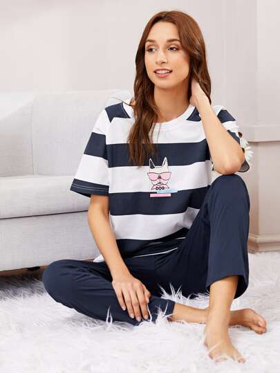 Block Stripe Top & Pants Pajama Set