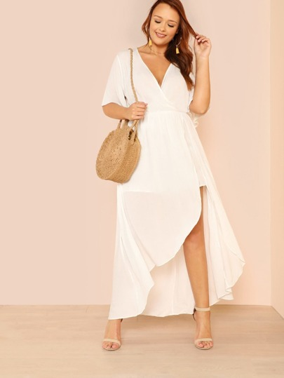 Keyhole Back Surplice Wrap High Low Dress