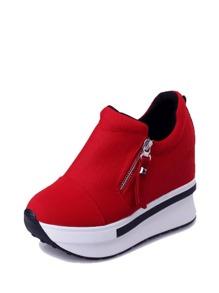 Side Zip Wedge Sneakers