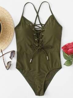 Crisscross Back Lace Up Front Swimsuit