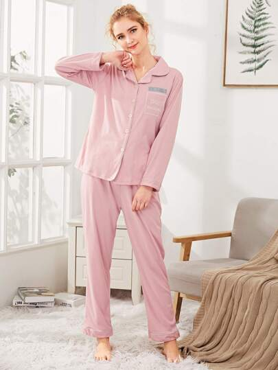 Contrast Binding Embroidered Shirt & Pants PJ Set