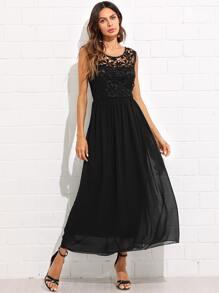 Guipure Lace Panel Open Back Flowy Dress