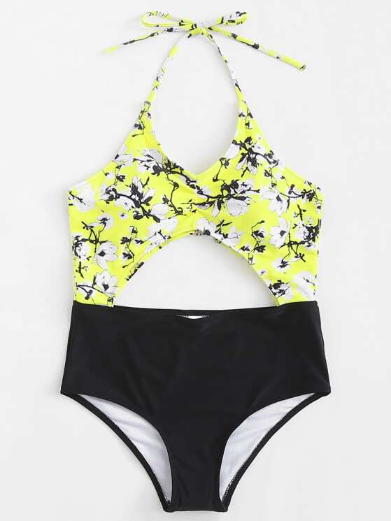 83dcb8cf02 Flower Print Cut Out Swimsuit