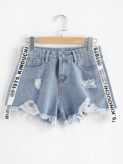 Shorts in denim con stampa a vivo
