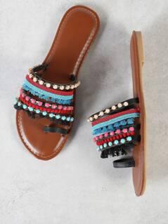 Embellished Strappy Toe Ring Sandal BLACK