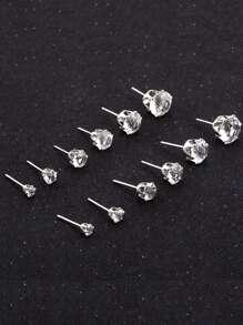 Rhinestone Detail Stud Earring Set 6pairs