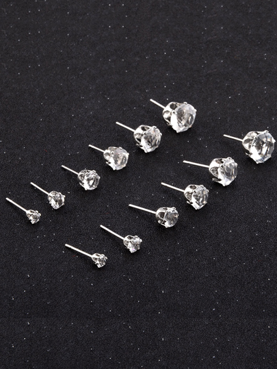 Rhinestone Detail Stud Earring Set