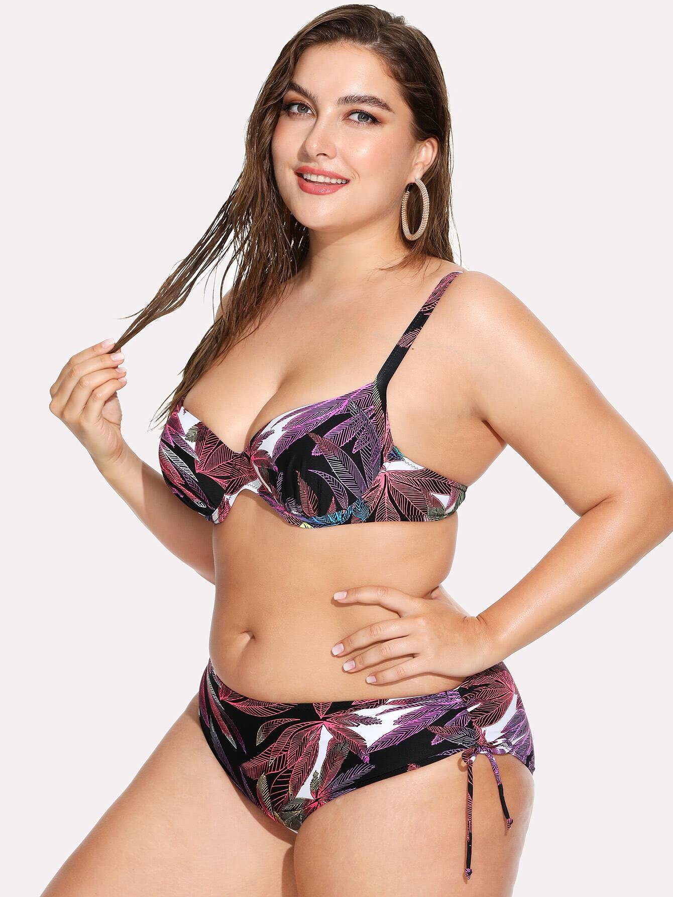Side Tie Jungle Print Bikini Set flower allover print tie side bikini set