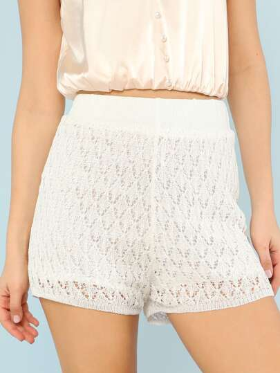 Knitted Mesh Shorts WHITE